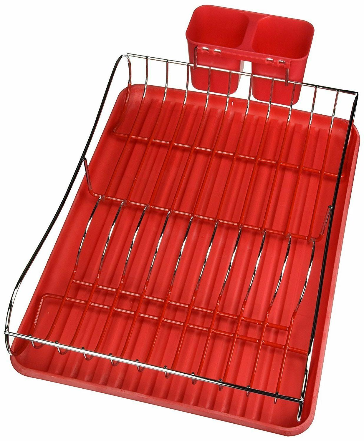 Chrome Dish Rack With Tray, Holder,Red/Green/White