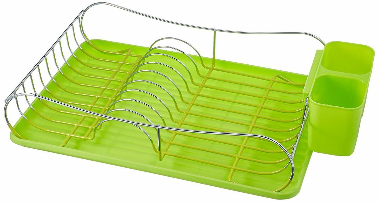 chrome dish drying rack with plastic tray