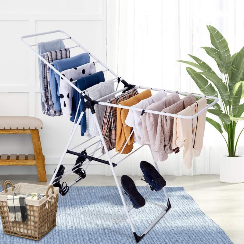 Collapsible Laundry Rack Hanging Rods, Shoe H