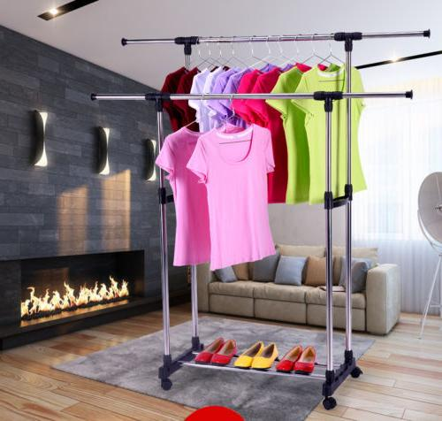 Adjustable Clothes Double Hanger Heavy Extendable
