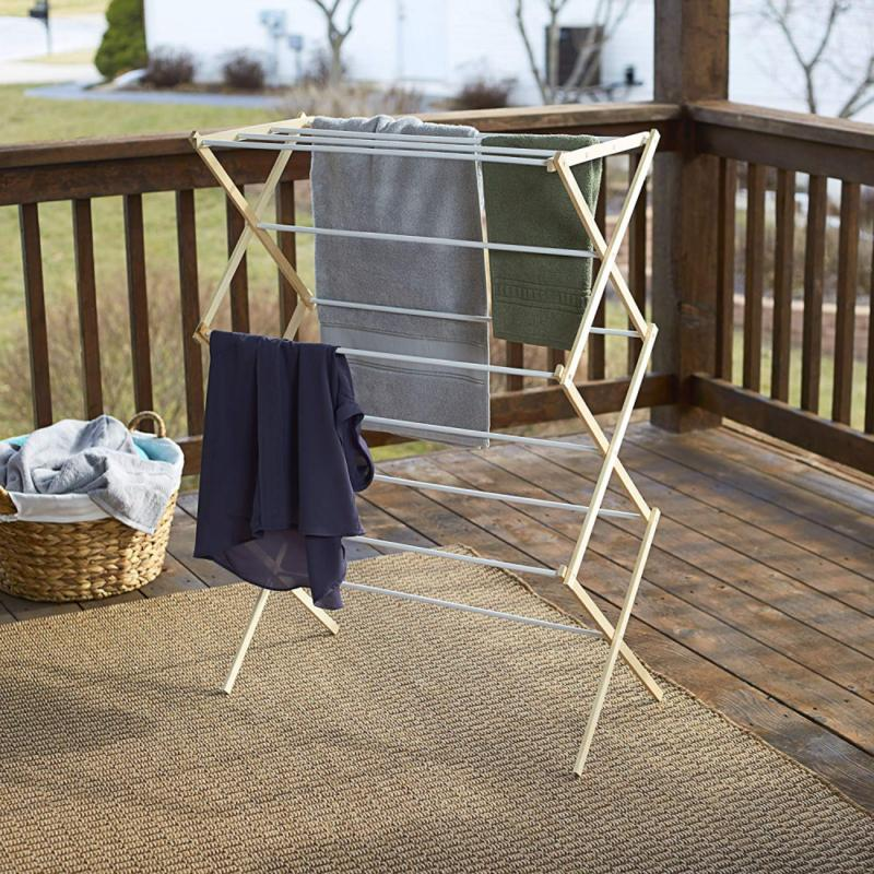 Household Essentials Folding Wooden Rack for Lau