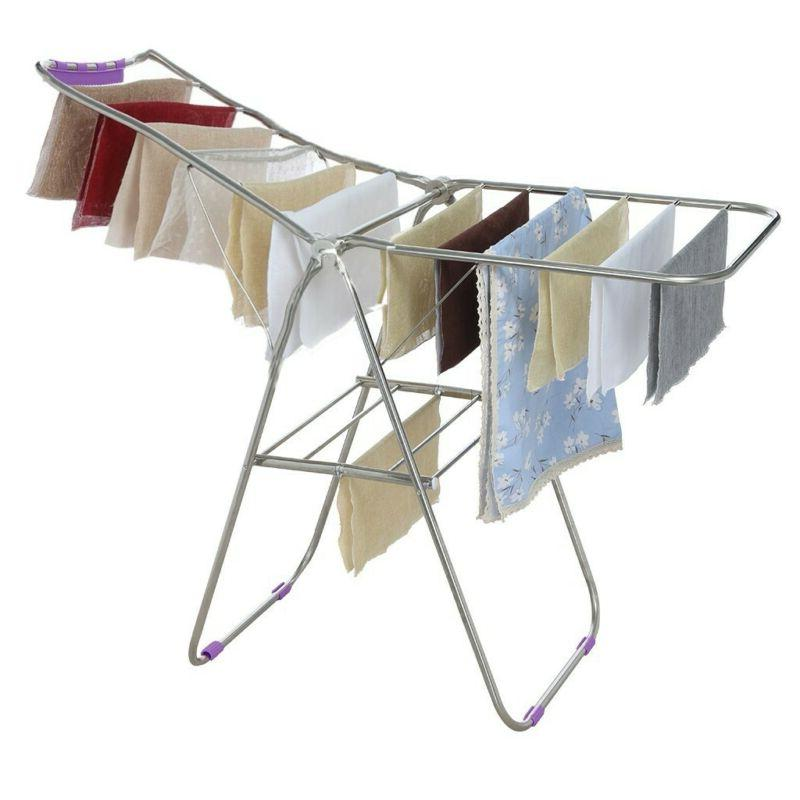 Clothes Drying Rack Laundry Stand Folding Hanger Indoor Port