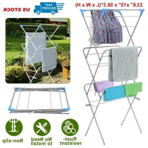 clothes drying rack laundry stand folding hanger
