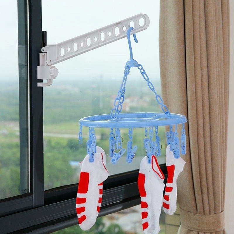 Clothes Window Frame Hanger Drying Rack Home Indoor Space Sa