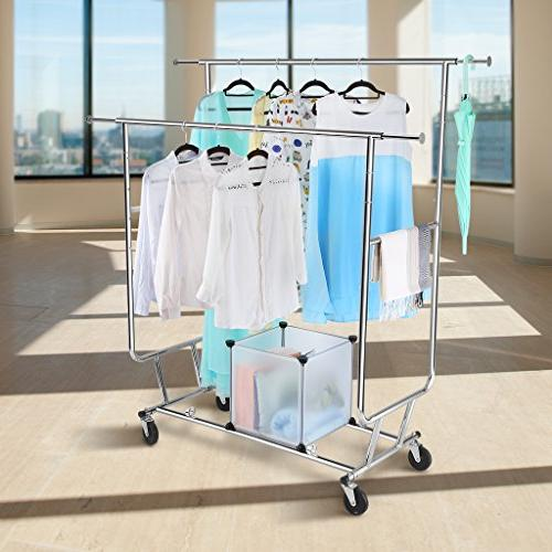 Rackaphile Double Rail Clothing Garment Drying Rack, Chrome Finish