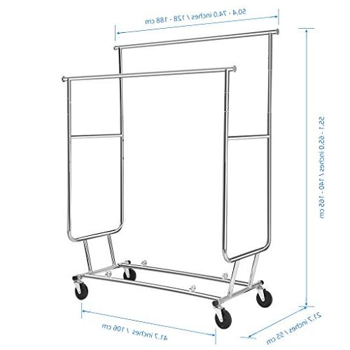 Rackaphile Collapsible Adjustable Double Rail Rolling Drying Chrome