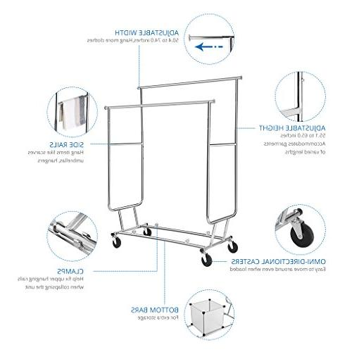 Rackaphile Rail Rolling Clothing Drying Rack, Chrome