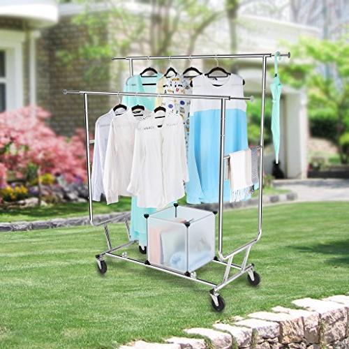 Rackaphile Rail Clothing Garment Drying Rack, Chrome Finish