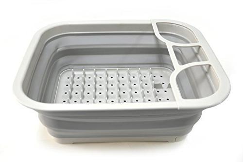 SAMMART with Drainer Board Foldable Rack - Portable Dinnerware - Space Storage Tray