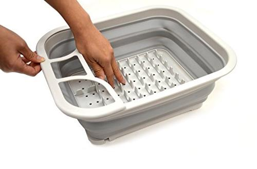 SAMMART Collapsible Dish Drainer with Drainer Board - Foldable Drying - -