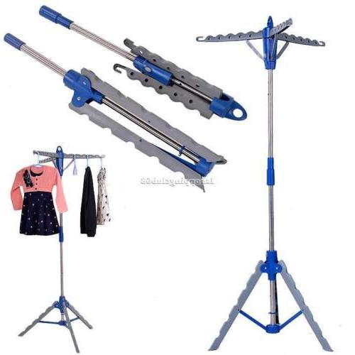 HOT Collapsible Clothes Folding Tripod Drying Garment Hanger Laundry