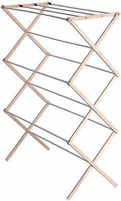 Collapsible Folding Wooden Clothes Drying Rack For Laundry P