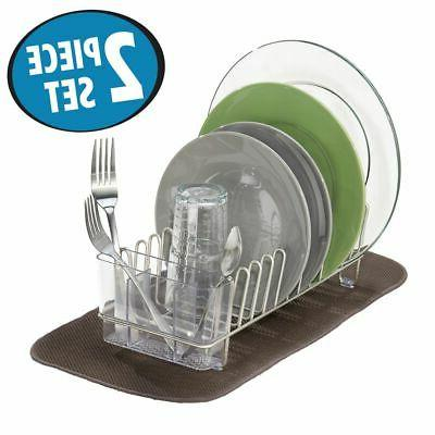 mDesign Dish Drying Rack and Set 2