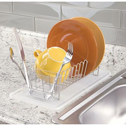 mDesign Compact Sink Dish and - Drain Dry Wine Glasses, and Dishes 2, Drainer in Satin Mat
