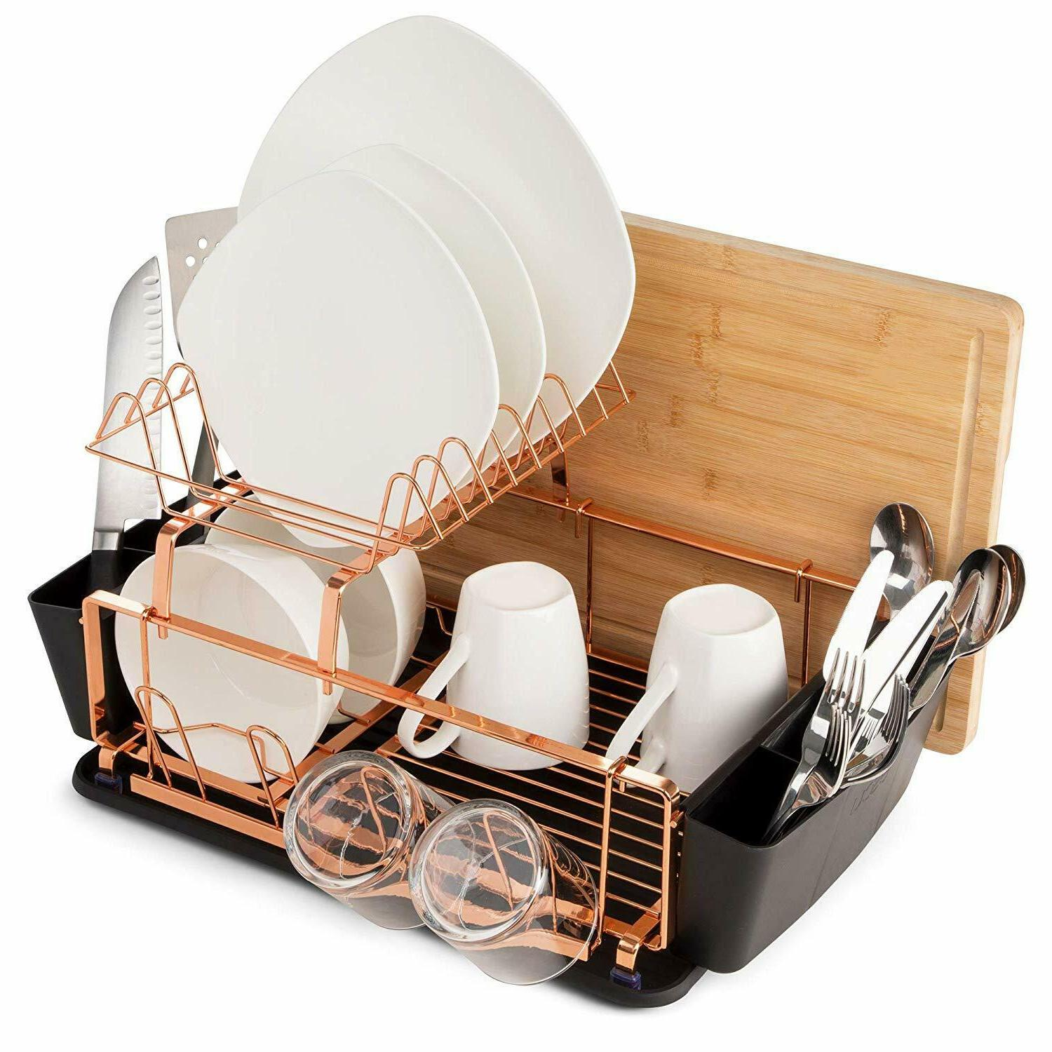 Copper Rack Dish Holder​ and Drainboard Set Adjustable w/Baskets