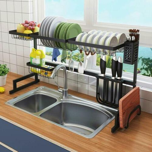 Decor Dish Drying Rack Stainless Storage Shelf Countertop