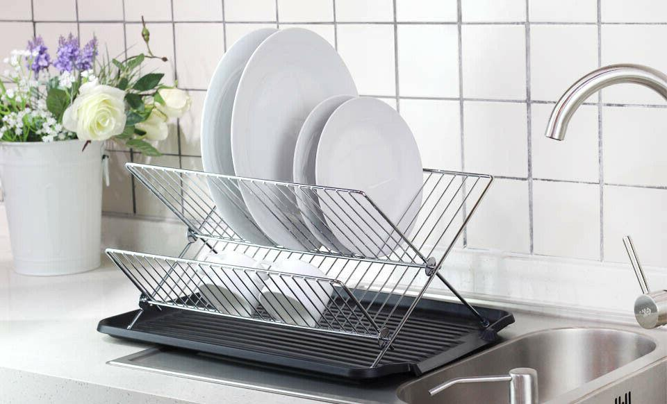 Deluxe Chrome-plated Steel X Shelf Small Dish with Drainboard