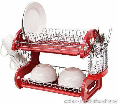 Dish Drainer 2 Tier Dish Rasck Kitchen Accessories Red Plast