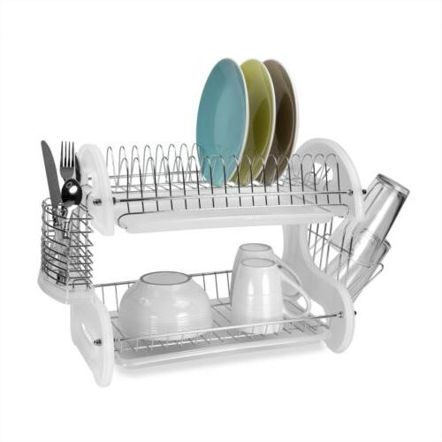 Home Basics NEW Dish Drainer, 2-Tier Plastic White - FREE SH
