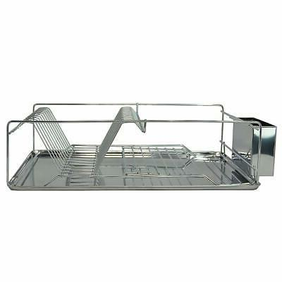 Dish Drying Rack 1 Drain Board Utensil Holder Chrome