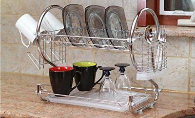 dish drainer drying rack 2 tier basic