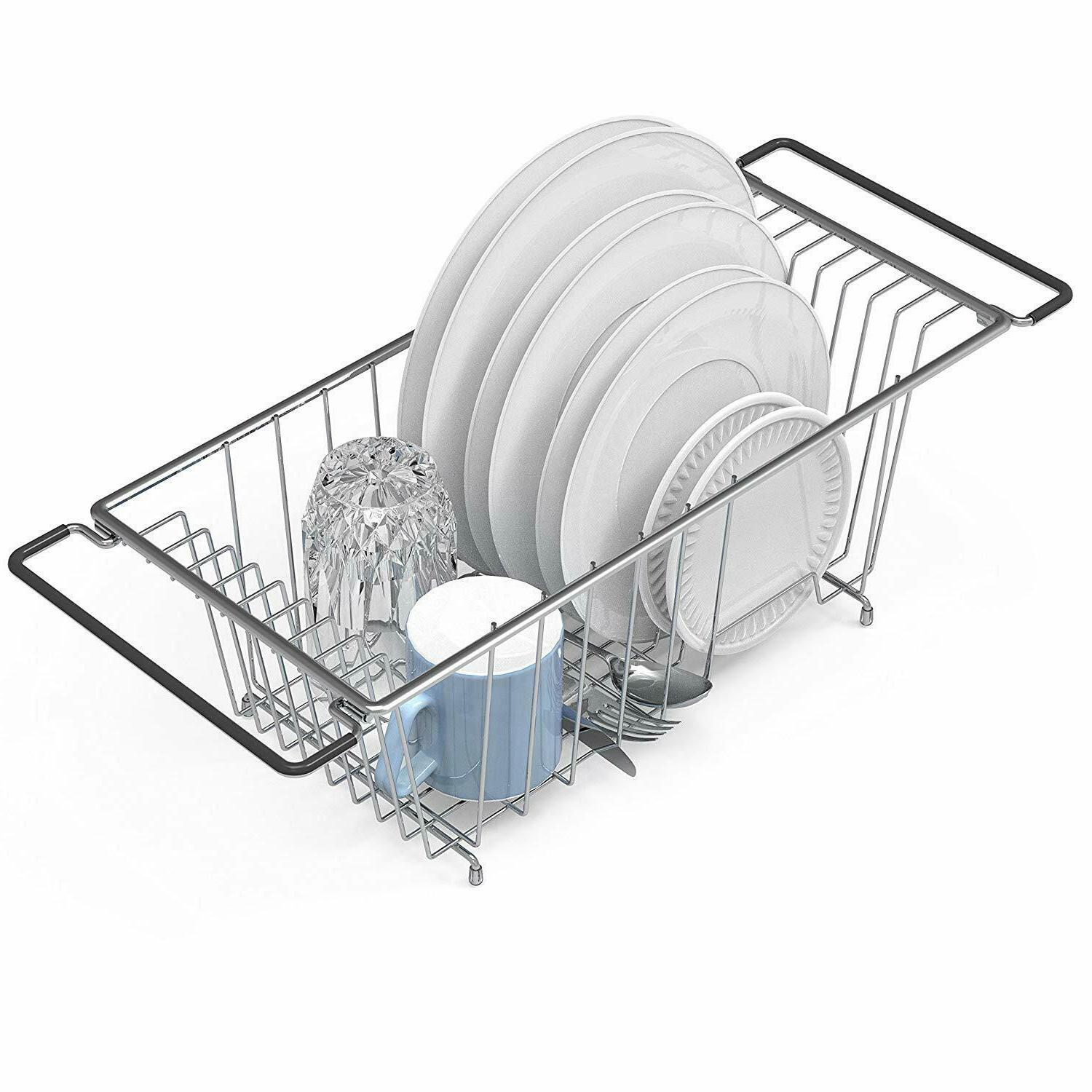 Over the Kitchen Sink Dish Drainer Drying Rack, Chrome