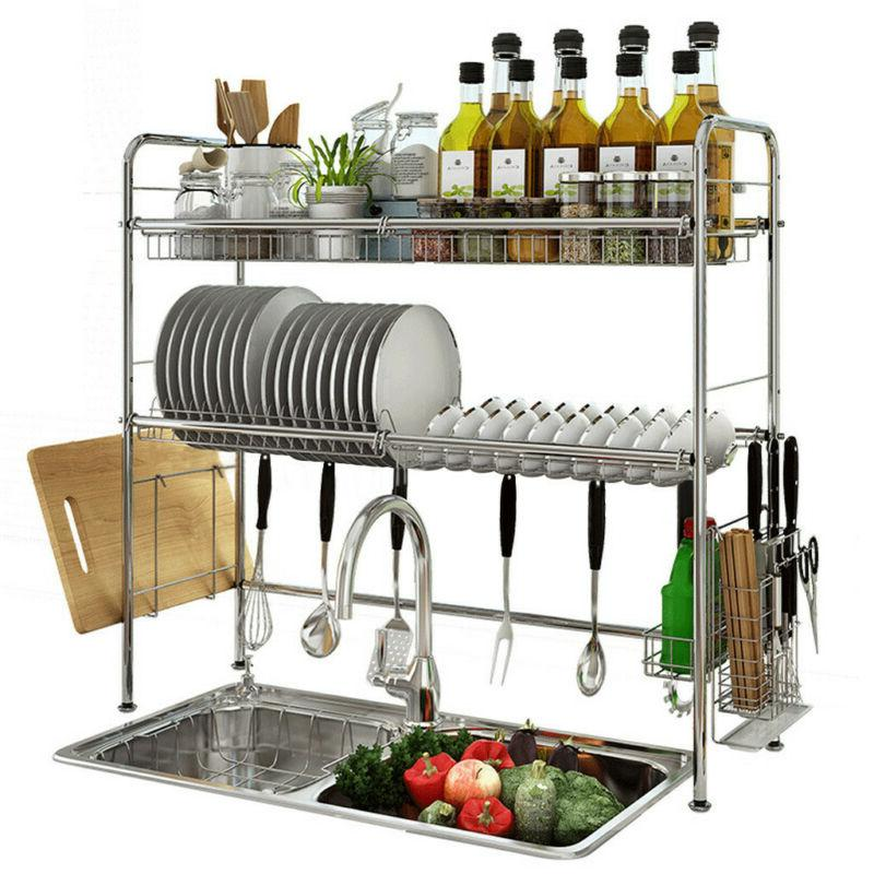 Dish Over Sink Drying Organizer Stainless Steel
