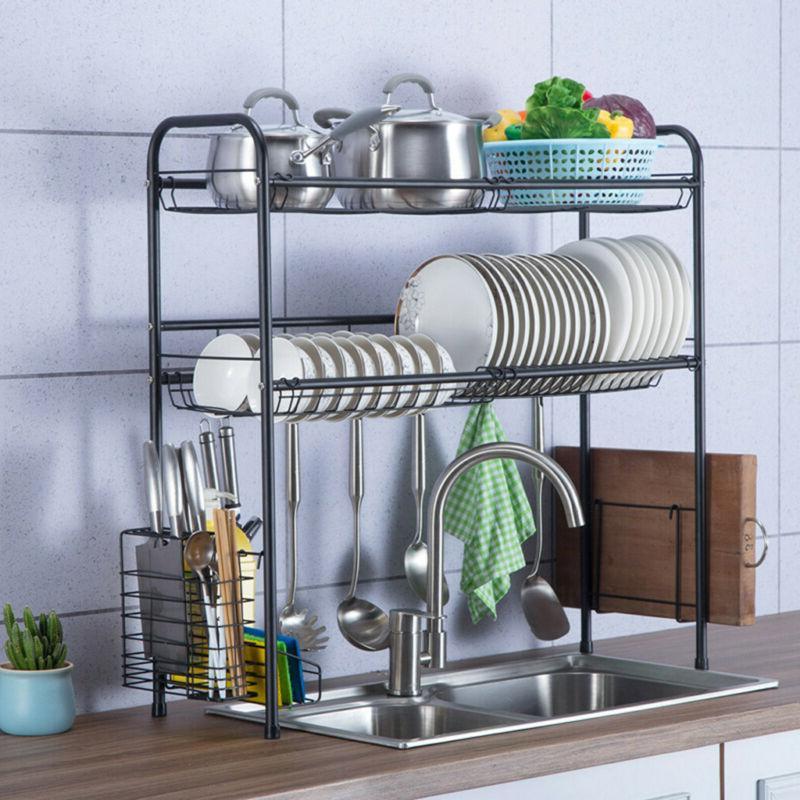 Dish Drying Rack Over Sink Display Drainer Kitchen Utensils