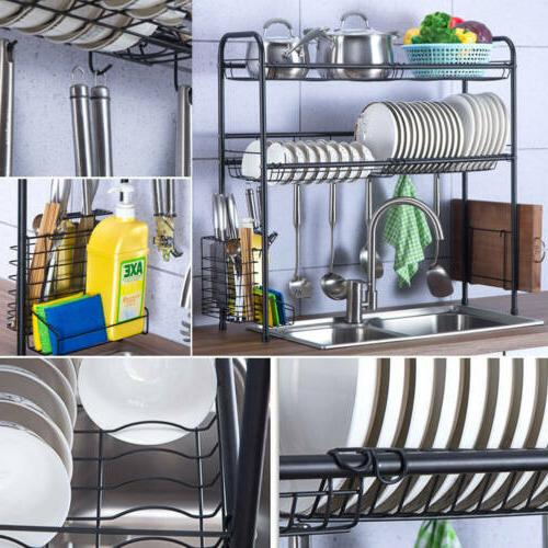 3 Sink Dish Rack Shelf Stainless Kitchen Cutlery Holder