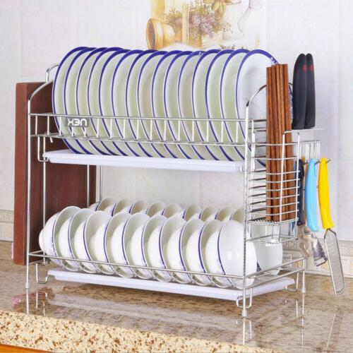 Stainless Dish Drying Rack Shelf Cutlery Holder