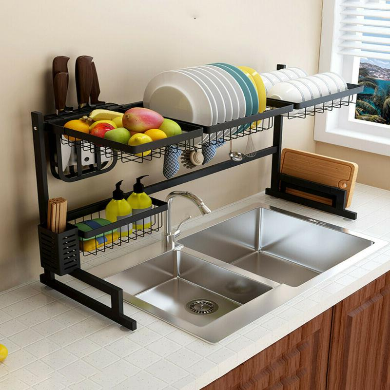 Dish Drying Rack Over Sink Drainer Shelf Kitchen Storage & O