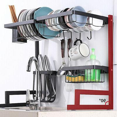 Dish Drying Rack Over Sink Kitchen Supplies Storage Drainer
