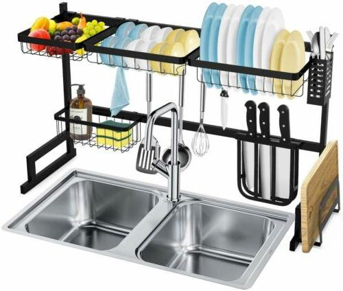 dish drying rack over sink storage shelf