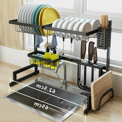 Dish Drying Rack Over Sink Display Drainer Shelf Hooks Kitch