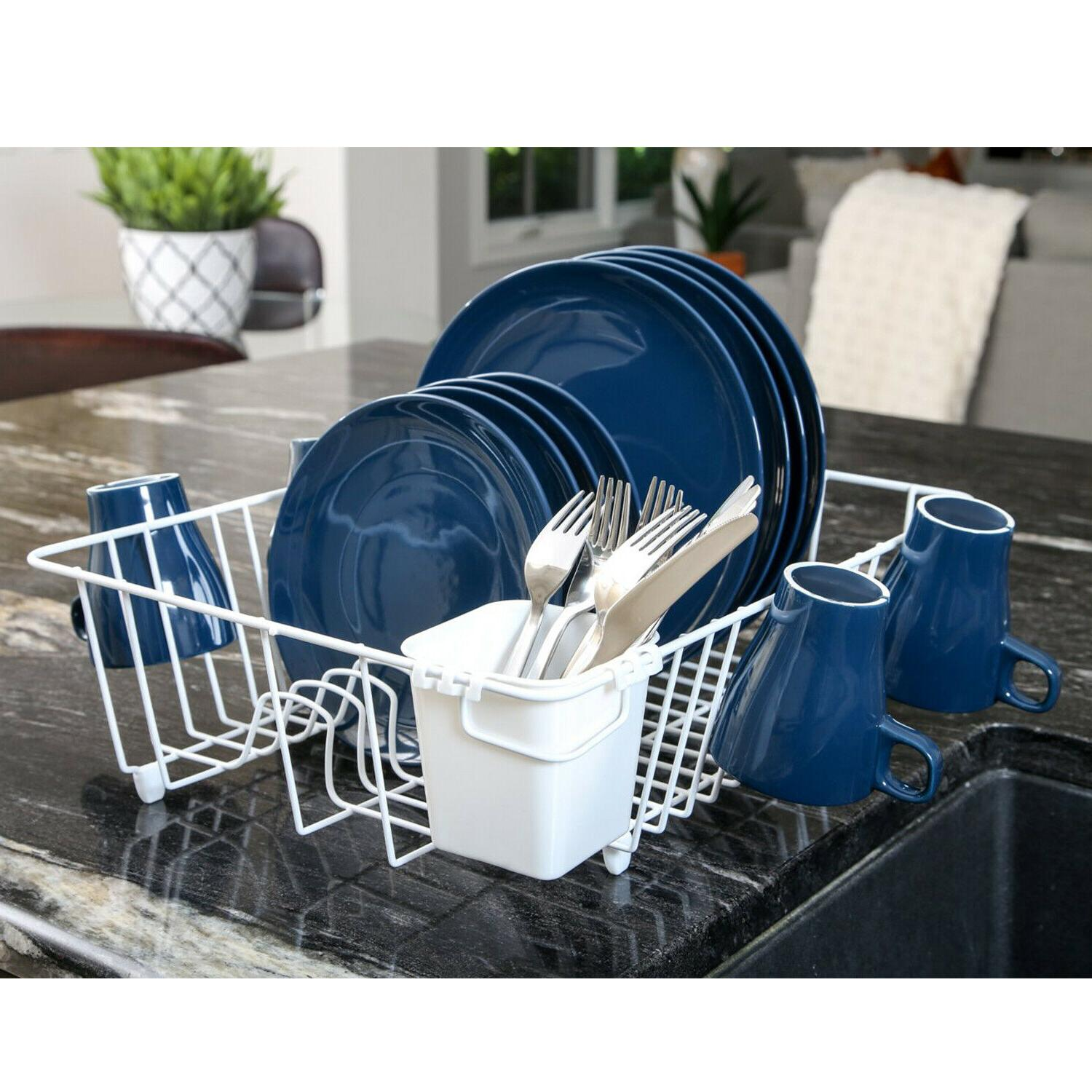 Dish Drying Rack Sink Drainer Cup Cutlery Plates Holder Kitc