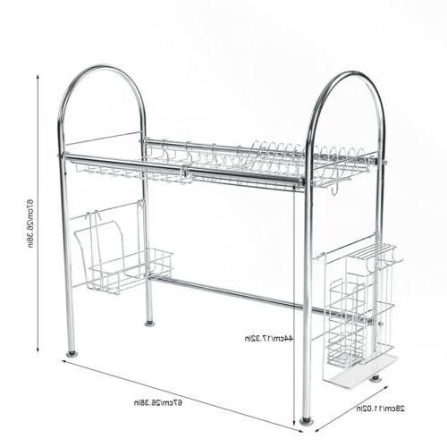 3 The Sink Dish Drying Rack Shelf W/ Cutlery Holder