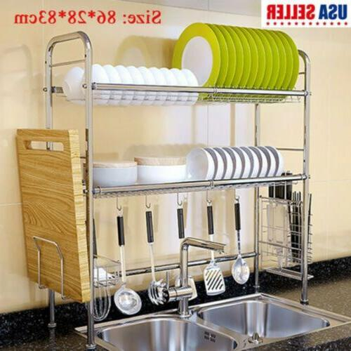 Dish Drying Rack Stainless Steel Over the Sink Dish Rack Lar