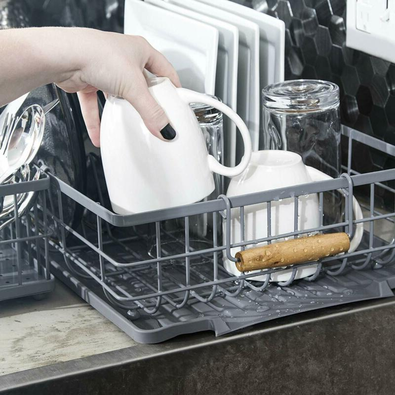 Dish Rack with Wooden Handles Includes