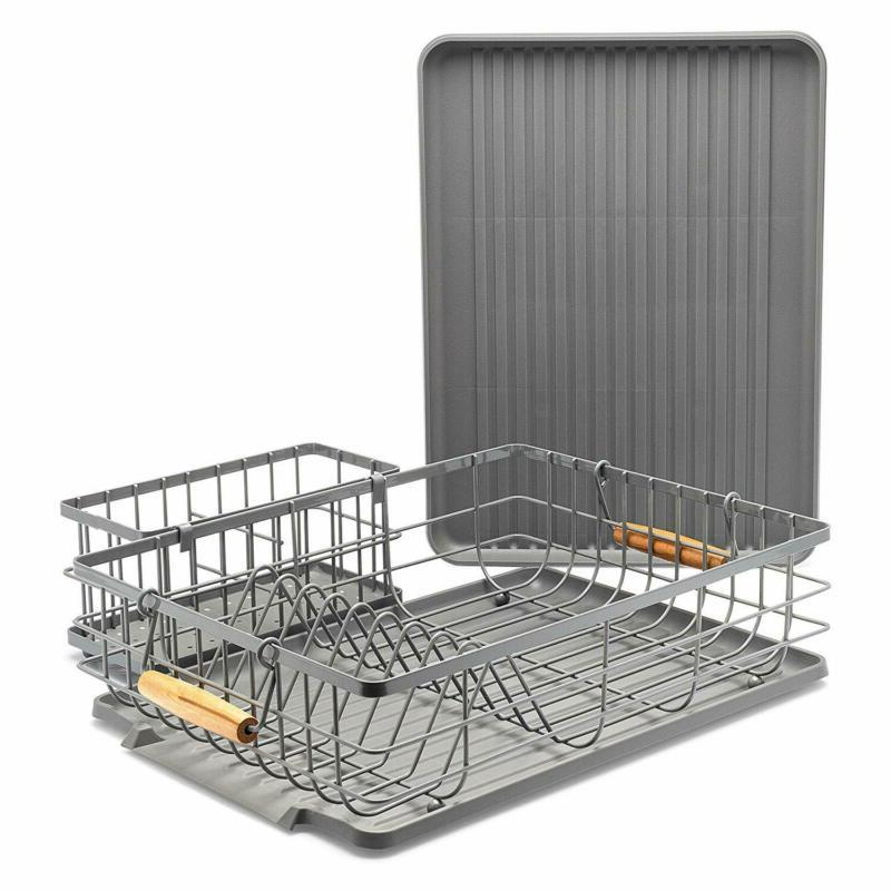 dish drying rack with wooden handles 16