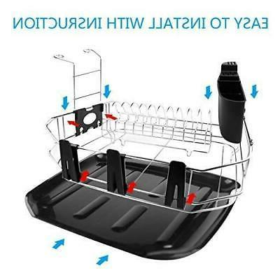 Dish Rack Set, Stainless Steel Drying with Drainboard/Cutlery Cup,...