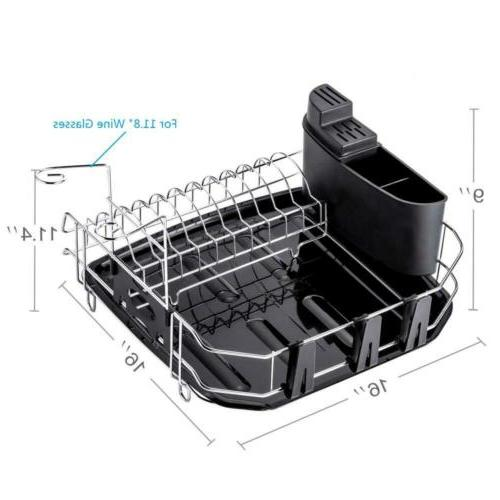 Dish Rack 304 Stainless Steel Drying with Cup,...
