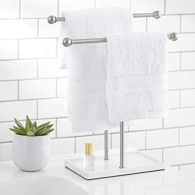 AmazonBasics Towel and Accessories Nickel/White