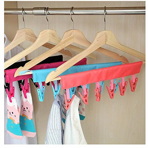 maxgoods Drying Laundry Drying Rack Hanger Drip 6 Clips Red&Blue&Rose