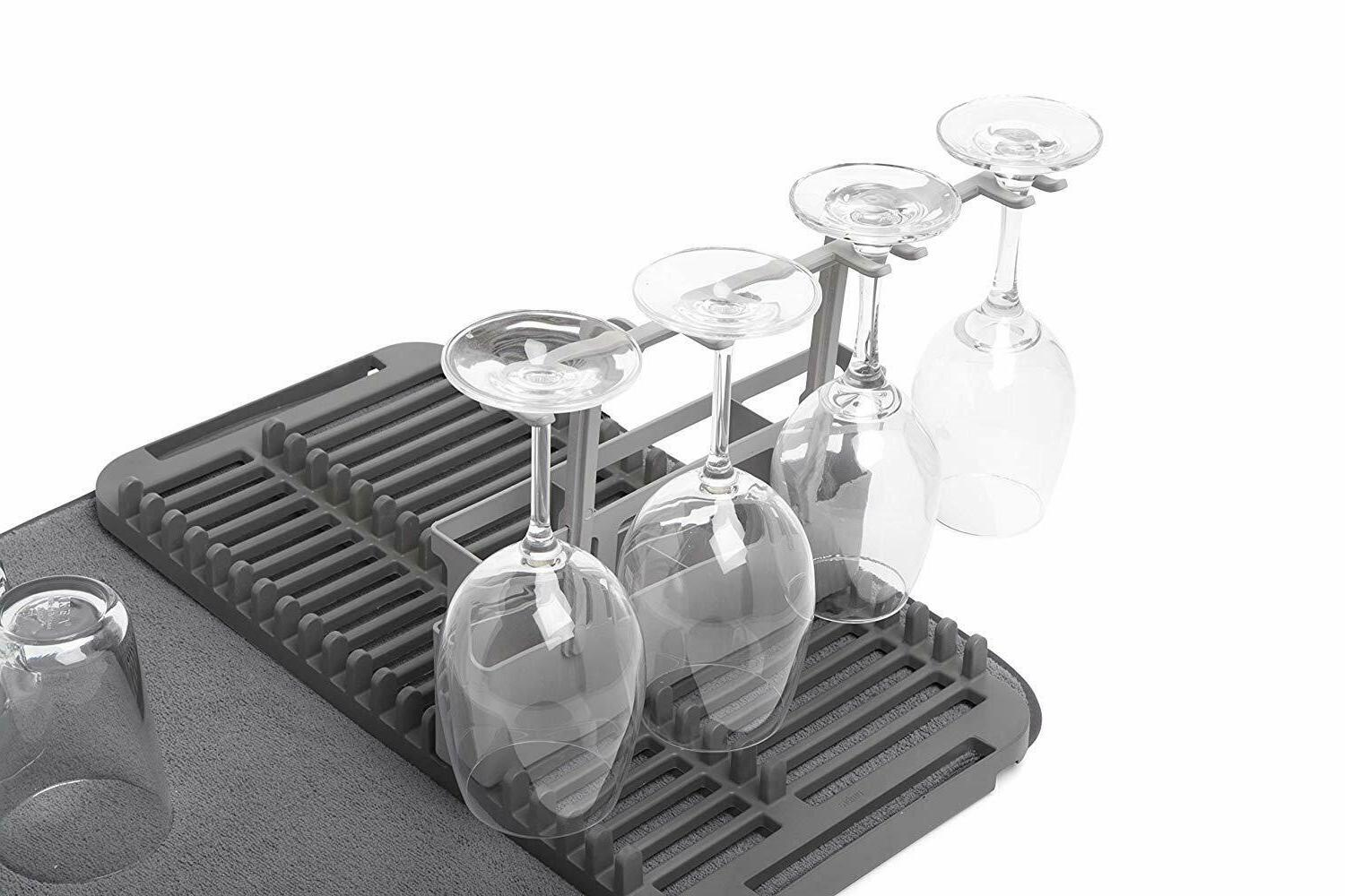 Drying and microfiber placemat with goblet and caddy
