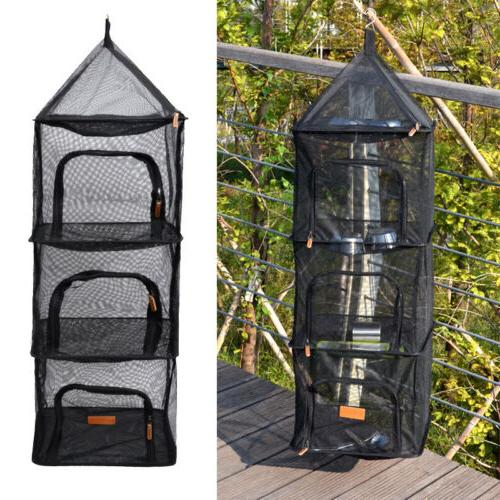 Drying Rack 4 Layers Outdoor Hanging Mesh Foldable Camping Dryer