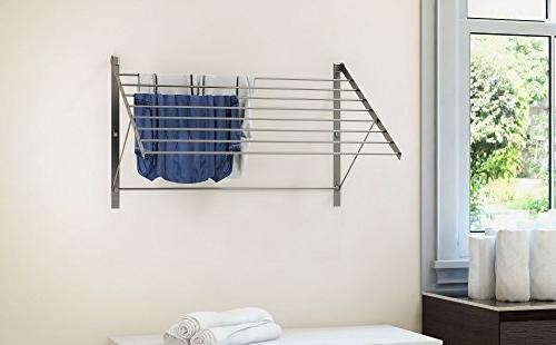 brightmaison Set Clothes Steel Wall Adjustable Collapsible, 6.5 Drying Capacity