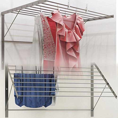 brightmaison Clothes Rack Stainless Steel Wall Mounted Folding Adjustable Yards Drying Capacity