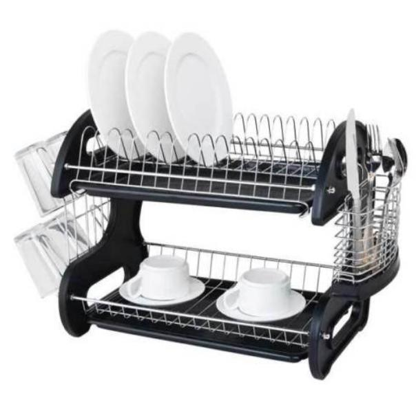 2 Tier Kitchen Stainless Steel Dish Rack Drainer Drying Stor