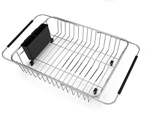 SANNO Rack,Over Arms Dish Drainer,Dish Rack in Sink Counter Utensil Storage Stainless Steel