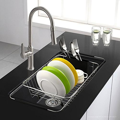 SANNO Expandable Dish Drying Rack,Over Sink Adjustable Arms Drainer,Dish Rack in On Counter with Utensil Storage Holder, Steel